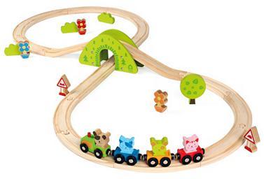Le train en bois de scratchy - 30 pièces, 100x45x14cm