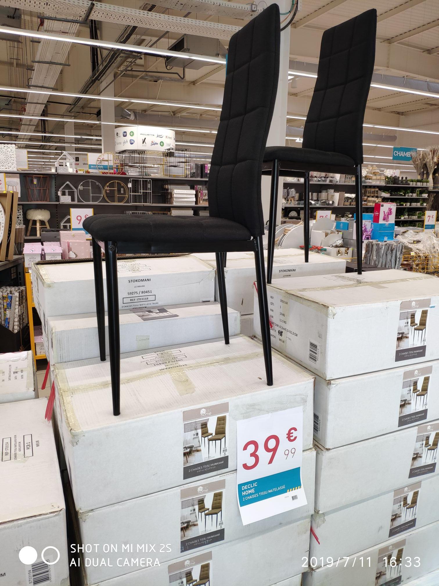 Lot de 2 chaises Declic Home (en tissu matelassé, différents coloris) - Hénin-Beaumont (62)