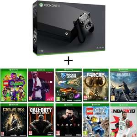 Console Microsoft Xbox One X + 10 jeux dont Final Fantasy XV, Rocket League, Vampyr, Hitman 2...