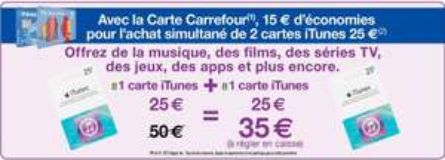 2 cartes itunes d'une valeur de 25€( =50€)