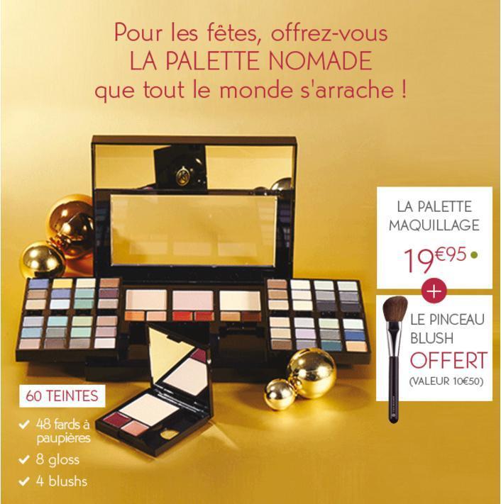 Pinceau Blush offert (valeur 10,5€) pour l'achat d'une palette maquillage