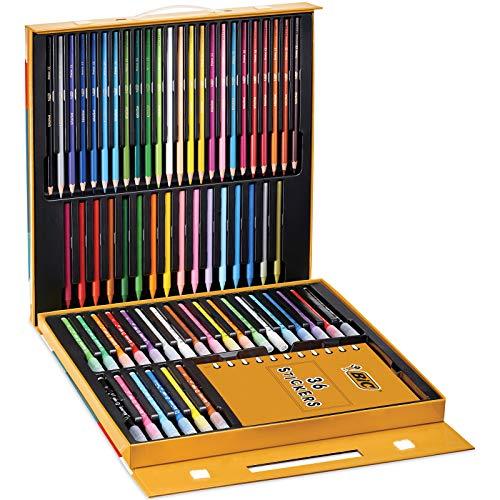 Mallette de Coloriage BIC961558 - 24 Crayons de Couleurs + 24 Feutres + 16 Craies + 36 Stickers