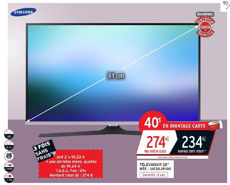"TV 32"" Samsung UE32J5100 - Full HD, 2xHDMI, 1xUSB, 2x10W (via 40€ fidélité)"