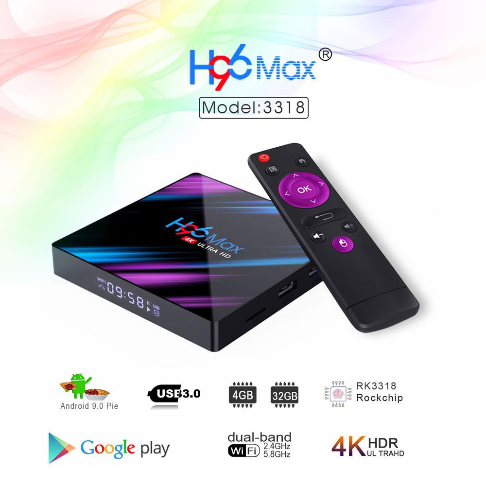 Box Multimédia TV H96 Max - 4K, Cortex-A53 RK3318, RAM 4Go, 32Go, Android 9.0