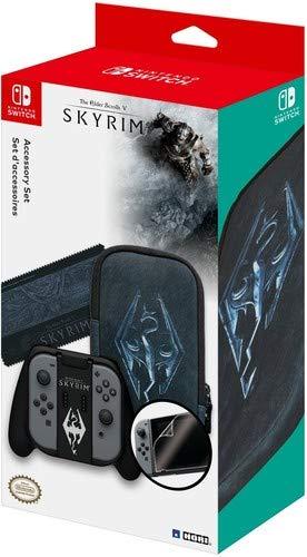 Set d'accessoires Skyrim pour Nintendo Switch - Etui + Grip Joy-Con + Chiffon + Protection d'écran