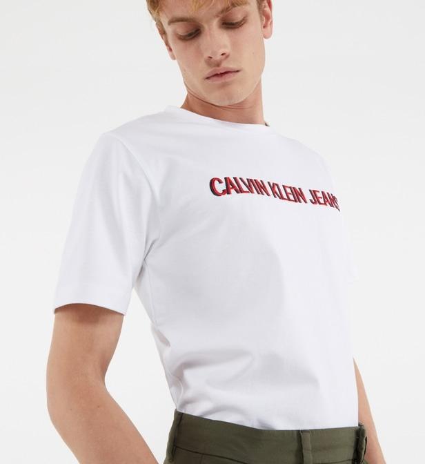 T-shirt droit en coton Calvin Klein - Blanc et tailles au choix