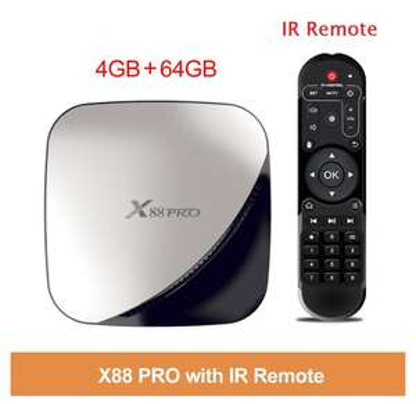 Box TV Vontar X88 Pro - Android 9.0, 4 Go RAM, 64 Go ROM, WiFi, compatible Google Assistant, avec télécommande