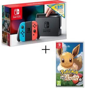 Console Nintendo Switch Néon + 35€ de crédit eShop + Pokémon Let's Go Evoli