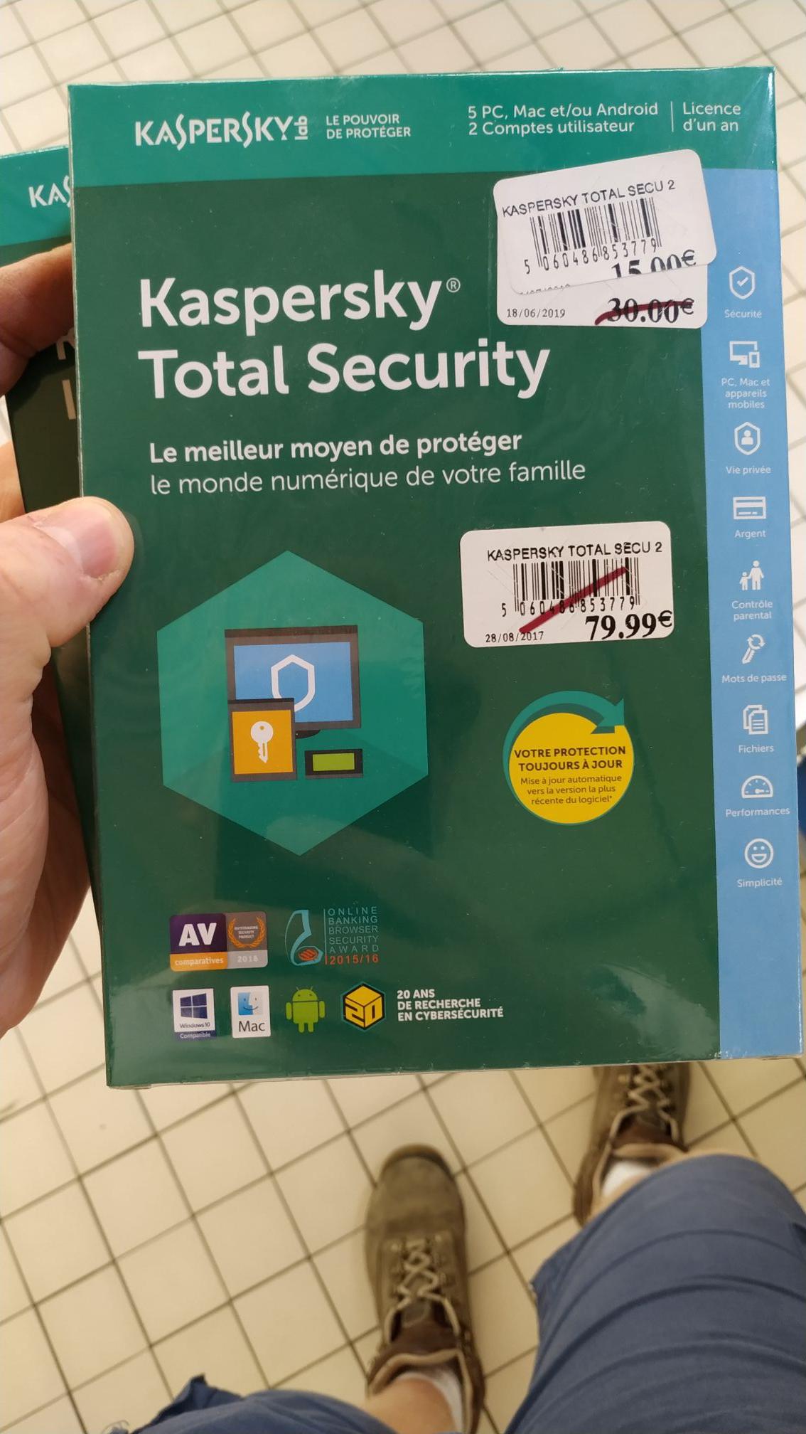 Sélection de produits Kaspersky Total Security en Soldes - Ex: 5 Postes & 2 Comptes - Saint-Dizier (52)