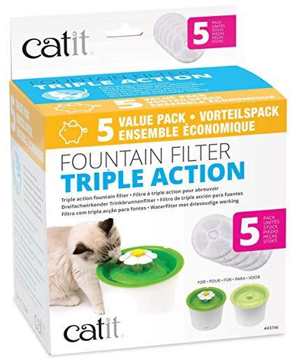 [Prime] Pack de 5 Filtres à Triple Action 2.0 Catit pour abreuvoir pour chat