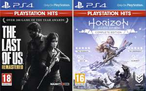 2 Jeux Playstation Hits pour 30€ - Ex : The Last of Us Remastered + Horizon Zero Dawn Complete Edition