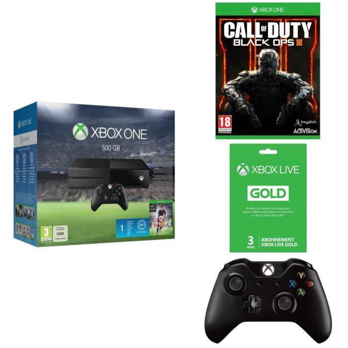 Console Xbox One 500Go + Fifa 16 + Call of Duty Black Ops 3 + 2ème Manette + Abonnement Xbox Live Gold 3 Mois