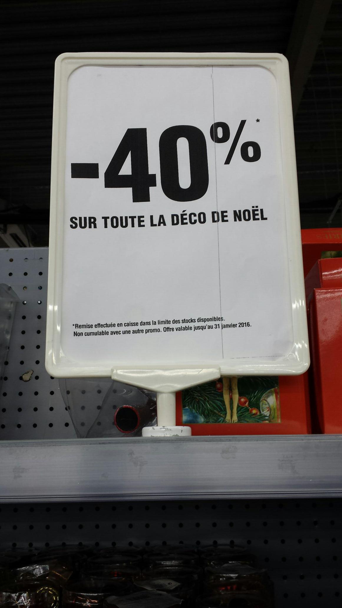 40% de réduction sur toutes les décorations de Noël