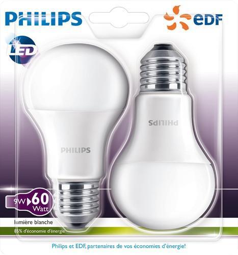 Lot de 2 ampoules Philips LED - E27 9/60W, E14 5.5/40W ou GU 10 5/50W