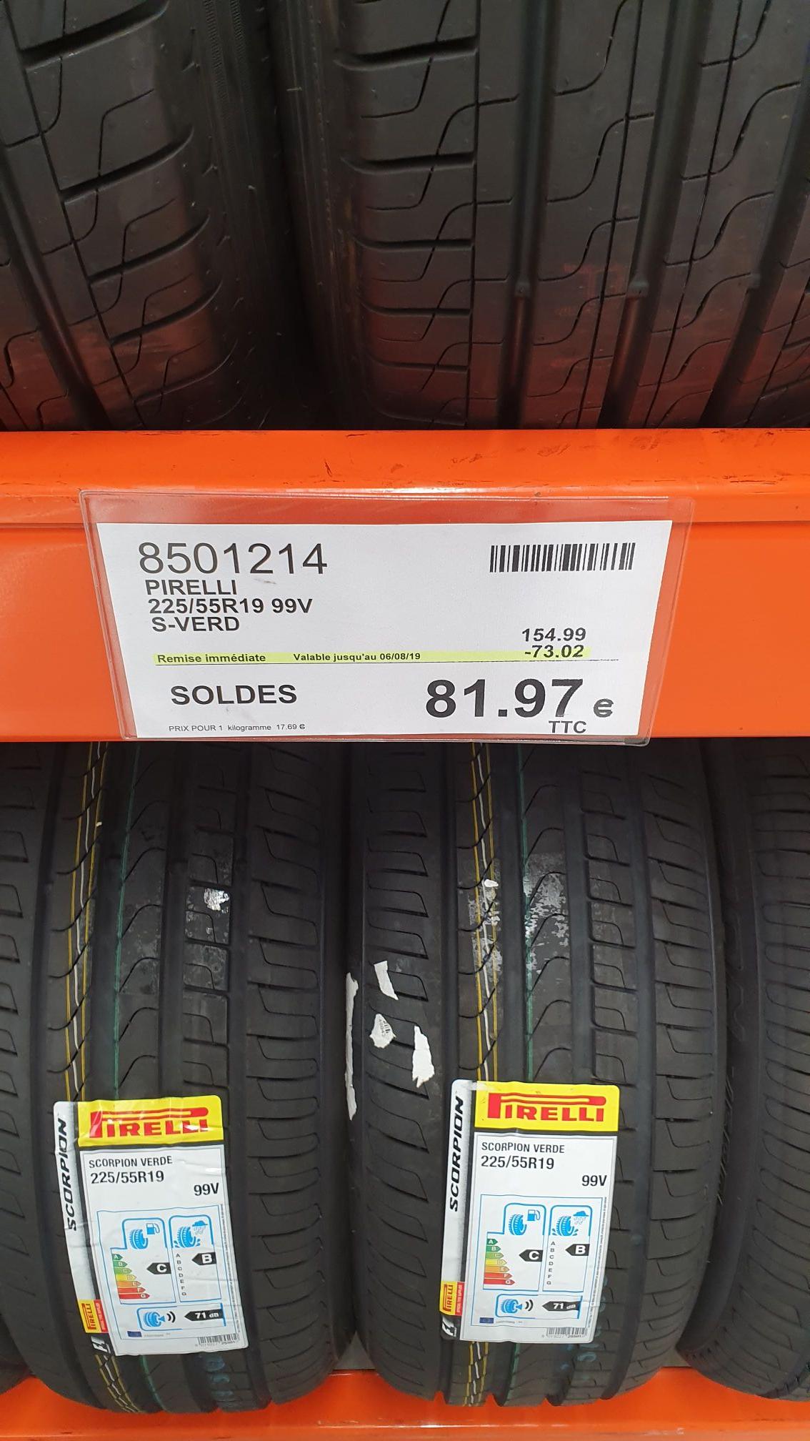 [Carte Costco] 50% de réduction sur les pneus Pirelli - Ex : Pirelli 225/55R19 99V S-VERD (Villebon-sur-Yvette 91)