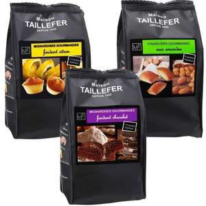 Lot de 9 paquets de biscuits Maison Taillefer : 3 mini financier, 3 mignardise citron, 3 mignardise chocolat
