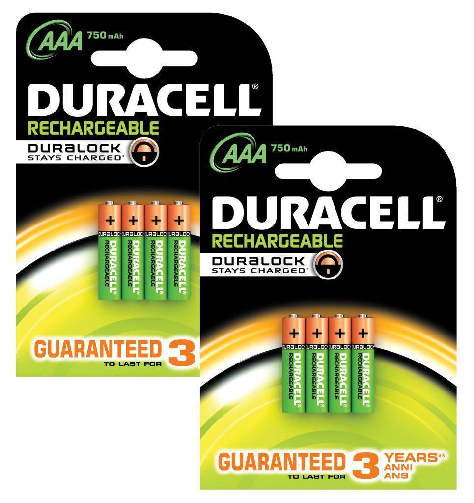 Lot de 8 Piles Rechargeables Duracell - 750 Mah
