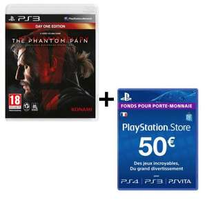 Pack Metal Gear Solid V : The Phantom Pain sur PS3 + Carte PlayStation Store 50€