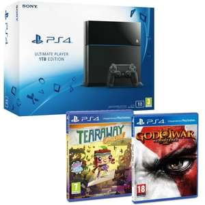 Pack Console Sony PS4 1 To + God of War 3 Remastered + Tearaway Unfolded