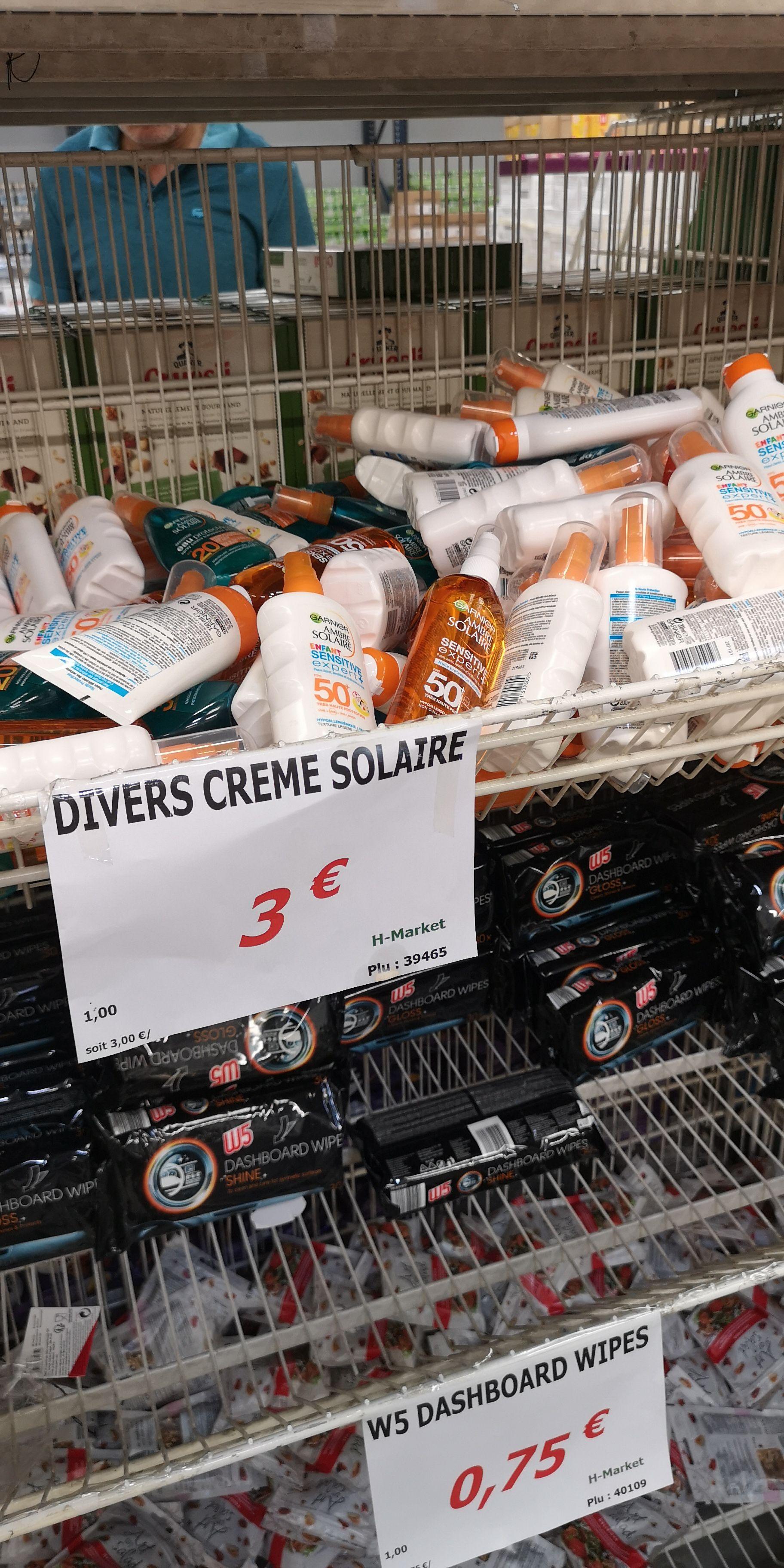 Sélection de Crèmes Solaires Garnier à 3€ l'unité - H.Market Aulnay-sous-Bois (93)