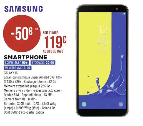 """Smartphone 5.6"""" Samsung galaxy J6 (2018) - HD+, 32 Go, Double SIM, Or"""