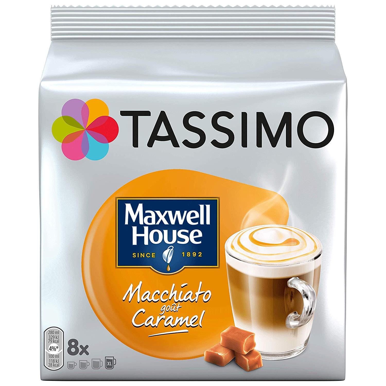 [Prime] Lot de 5 paquets de 8 dosettes Tassimo Maxwell House Macchiato - Caramel