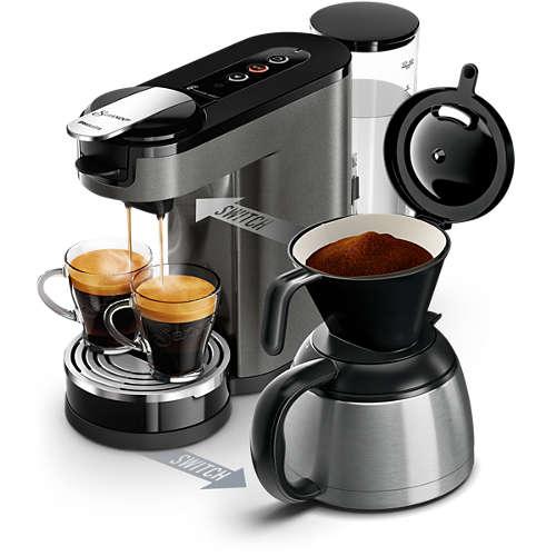 Machine à café à dosettes et filtre Senseo Switch Premium HD6596/51