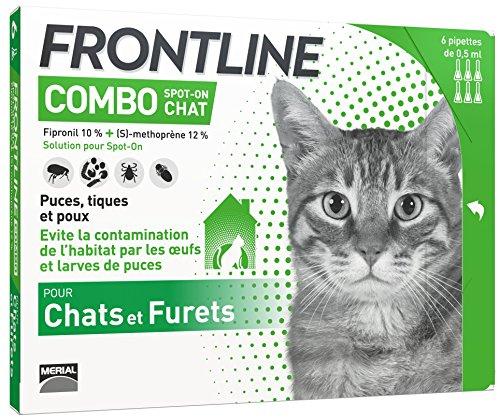 [Prime] Paquet de 6 pipettes de protection anti-puces / anti-tiques pour chat Frontline Combo Spot-on Chat