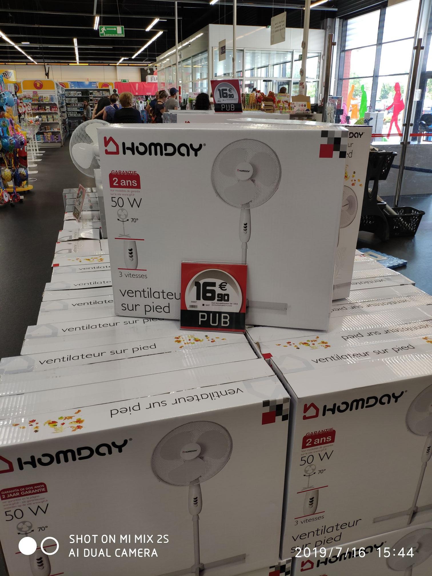 Ventilateur sur pied Homday (3 vitesses, 50 W) - Dechy (59)