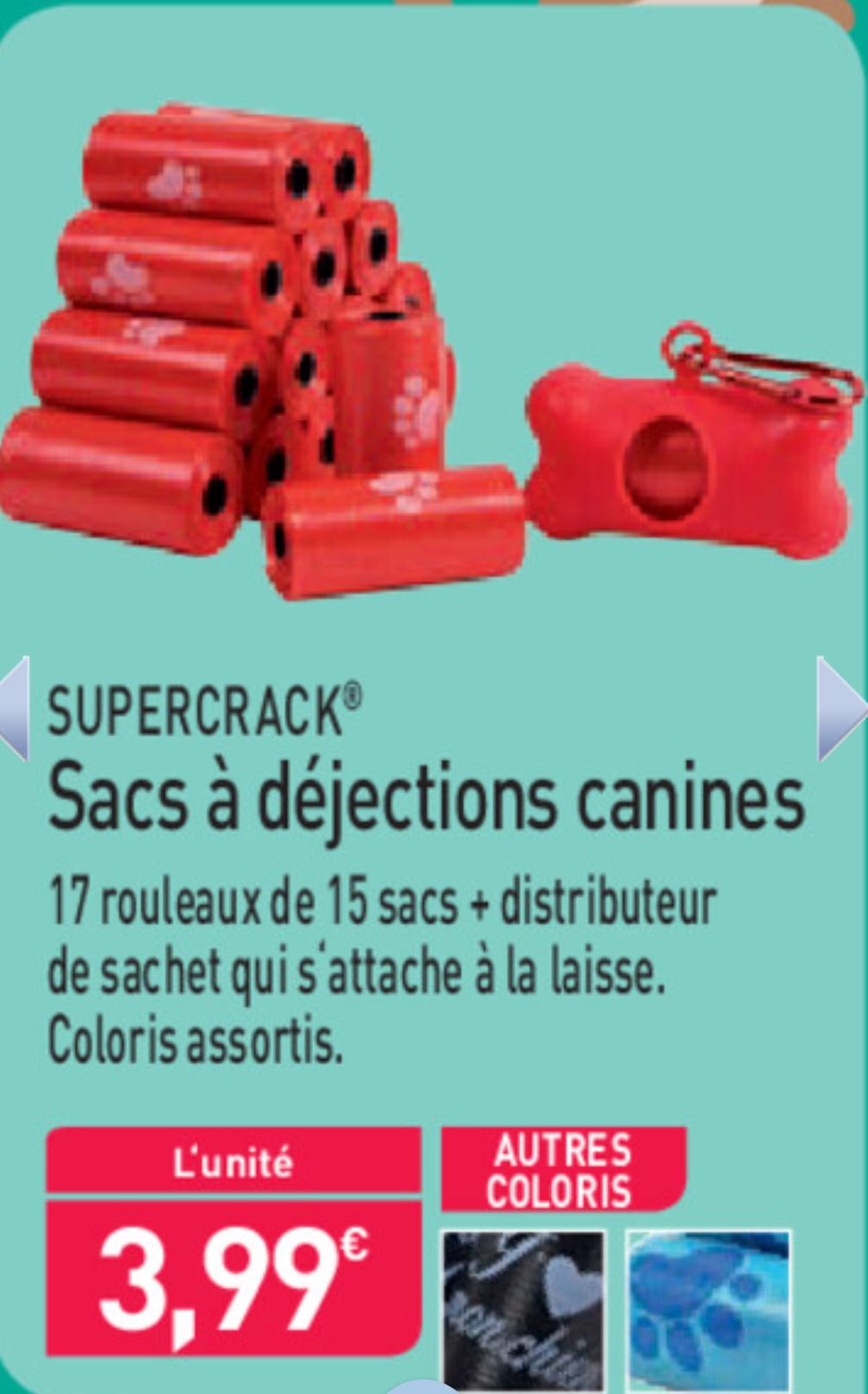 Distributeur de sacs à déjections canines SuperCrack - avec 17 rouleaux de 15 sacs (255 sacs)