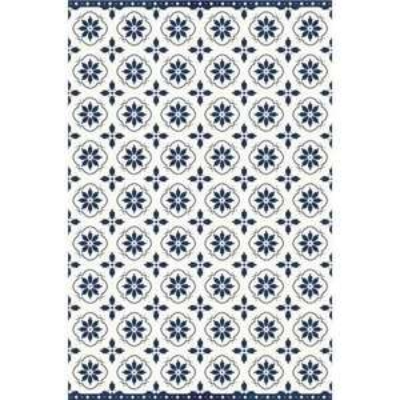 Tapis vinyle Santorin - motifs Cyclades, 99x150 cm, Épaisseur 1,5 mm, bleu