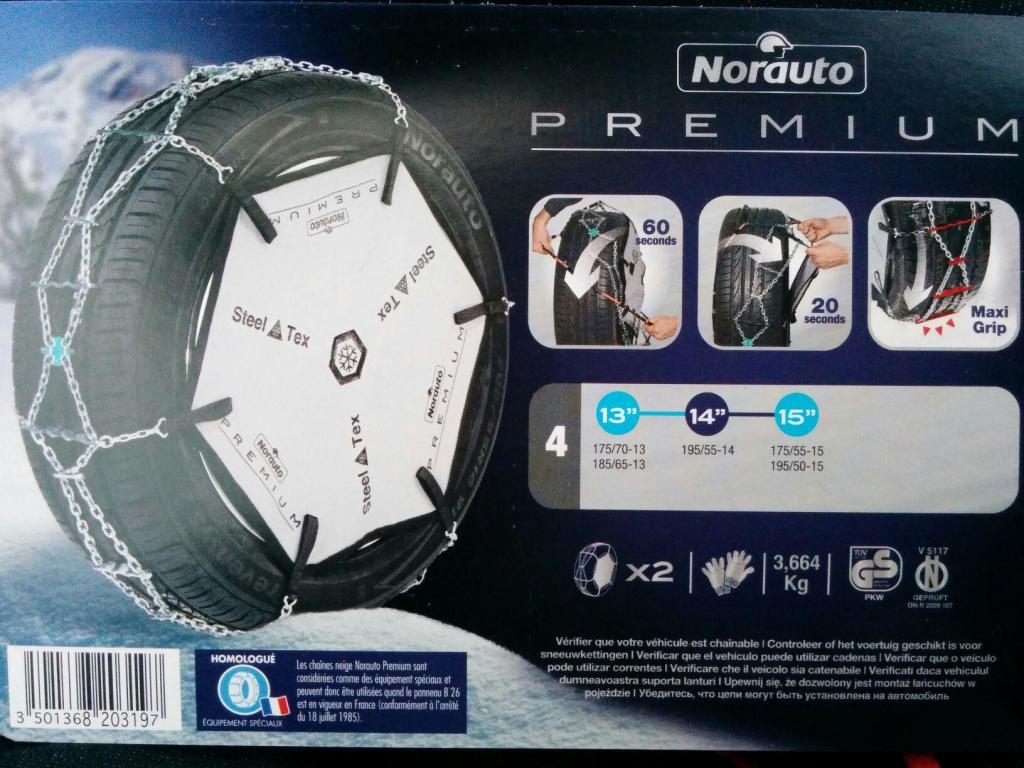 Pack de 2 Chaînes neige Norauto Premium ref 3,4,6