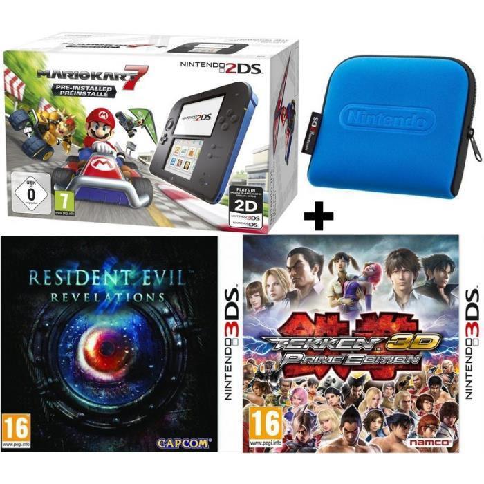 Pack console Nintendo 2DS Mario Kart 7 + Housse officielle + Resident Evil Revelations + Tekken 3D