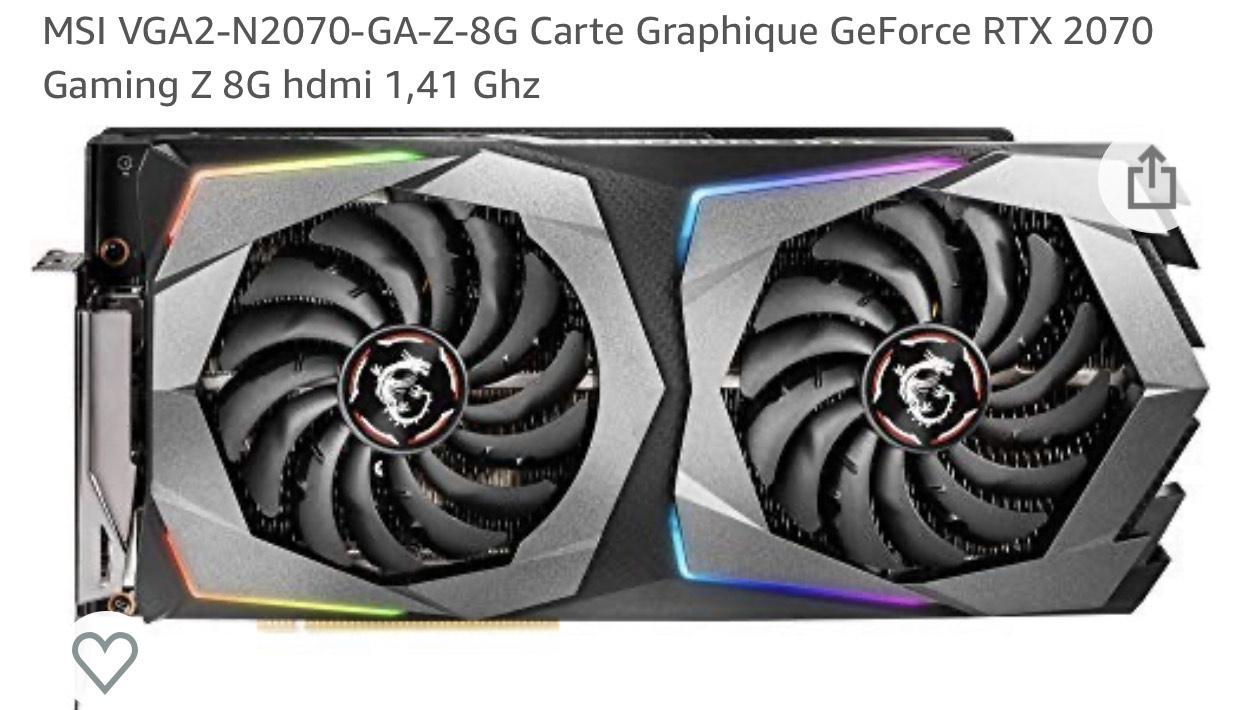 Carte Graphique MSI VGA2-N2070-GA-Z-8G GeForce RTX 2070 Gaming Z 8G hdmi 1,41 Ghz