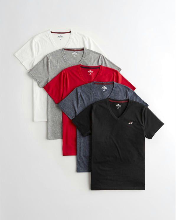 Lot de 5 T-shirts avec Col en V pour Hommes - Tailles au choix