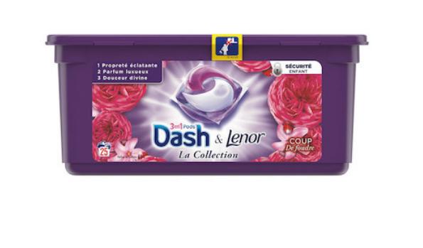 Pack de capsules Lessive 3-en-1 Dash & Lenor - 25 Lavages (Via 7.10€ sur la Carte Fidélité)
