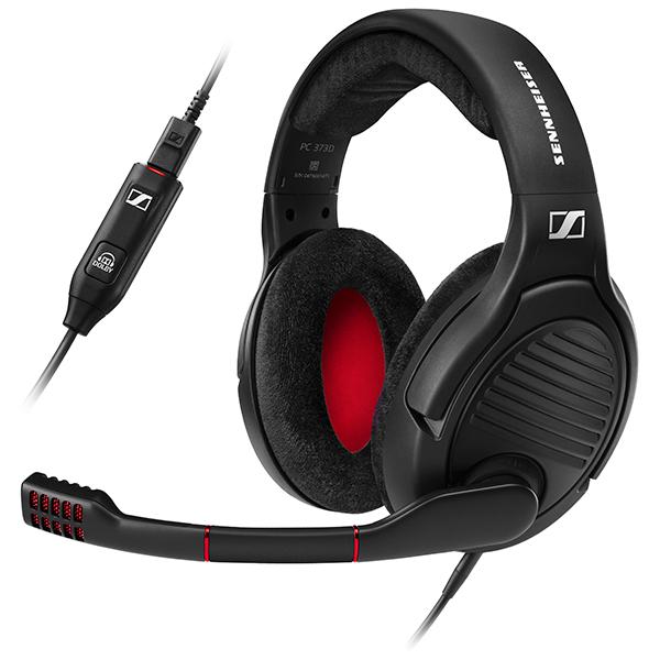 Casque Sennheiser PC 373D Micro-casque 7.1 Noir/Rouge + support de casque GSA 50 (Reconditionné constructeur)