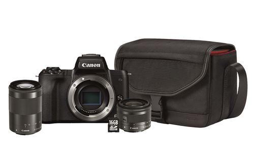 Hybride Canon EOS M50 Noir + Objectif 15-45 mm f/3.5-6.3 IS STM + Objectif  55-200 mm f/4.5-6.3 IS STM Noir + Etui + SD  (Frontalier Belge)