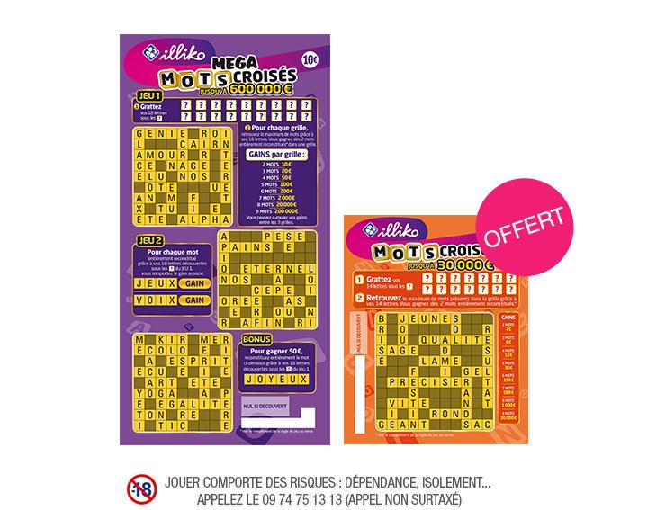 1 ticket de grattage FDJ Illiko Mega Mots croisés à 10€ acheté en point de vente = 1 ticket Mots Croisés à 3€ offert (via Shopmium)