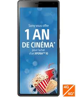 """Smartphone 6"""" Sony Xperia 10 (64 Go) + 1 an de cinéma (via ODR de 50€)"""