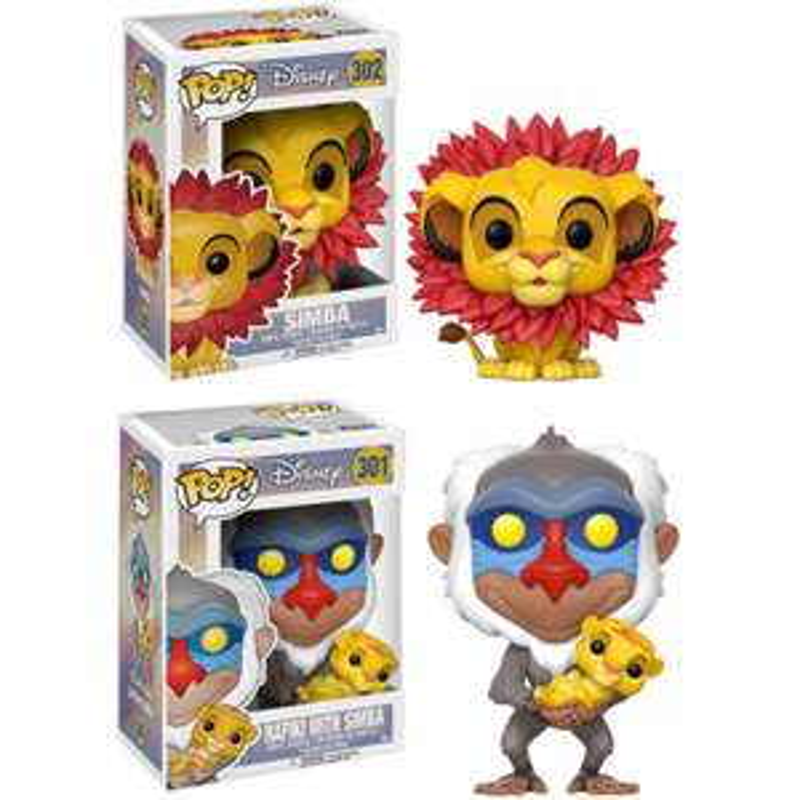 Lot de 2 figurines Funko Pop! Disney Le Roi Lion Bobble-Head Pop - Rafiki & Simba + Simba Leaf Mane
