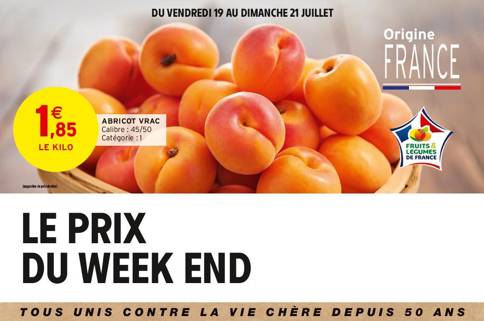 Abricots en vrac (origine France, cat. 1 calibre 45/50)