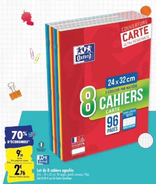 Lot de 8 cahiers agrafés Oxford - 24x32cm (via 6.44€ fidélité)