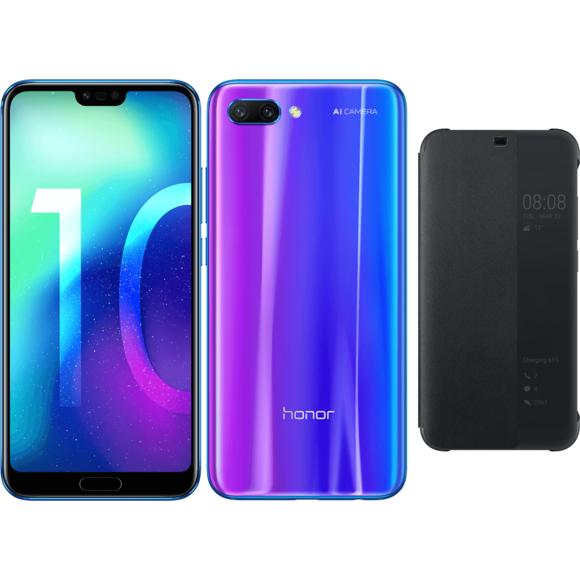"""Smartphone 5.84"""" Honor 10 (Full HD+, Kirin 970, 4 Go de RAM, 64 Go, Bleu ou Noir) + Flip Cover Noir"""