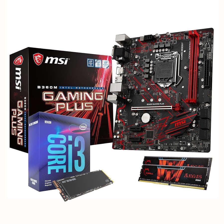 Processeur Intel Core i3 9100F + Carte Mère MSI B360M Gaming Plus + RAM G.Skill 8Go + SSD M2 NVMe Intel 760P Series 128Go