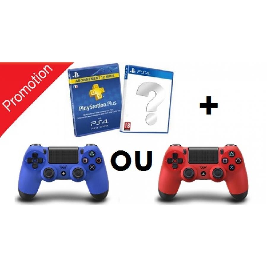 Pack 1 manette Sony DualShock 4 (bleu ou rouge) + abonnement de 24 mois au PlayStation Plus + 1 jeu vidéo aléatoire sur PS4