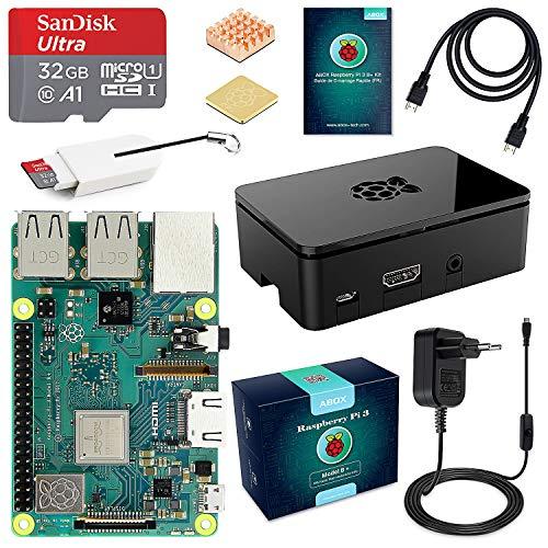 Kit de démarrage Abox : Raspberry Pi 3 Modèle B Plus + Carte 32 Go + Alimentation + Boitier (vendeur tiers)
