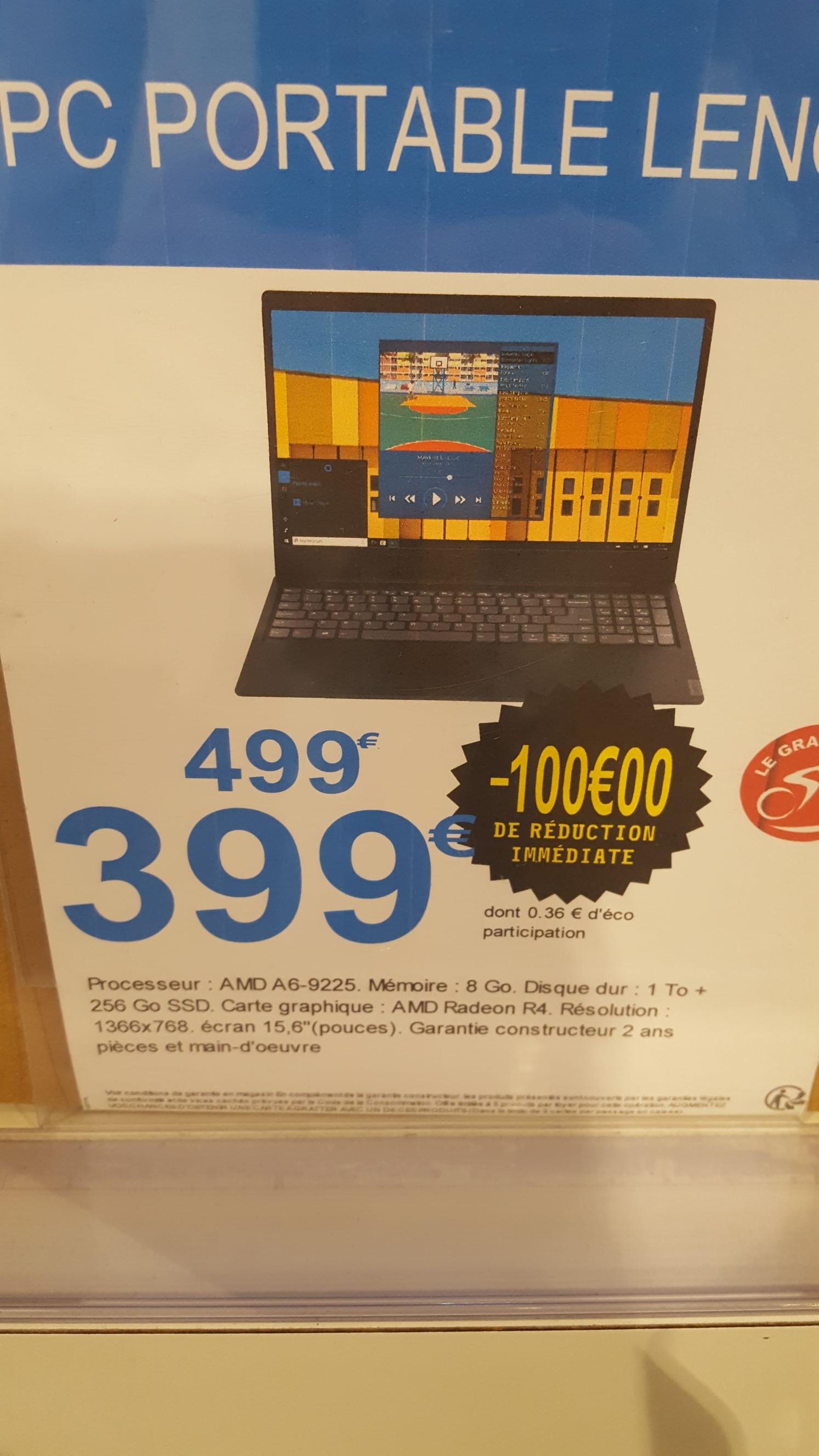 """Pc portable 15.6"""" Lenovo IdeaPad s145-15ast - AMD a6-9225, 8Go Ram, HDD 1To, SSD 256 Go (Vitre 35)"""