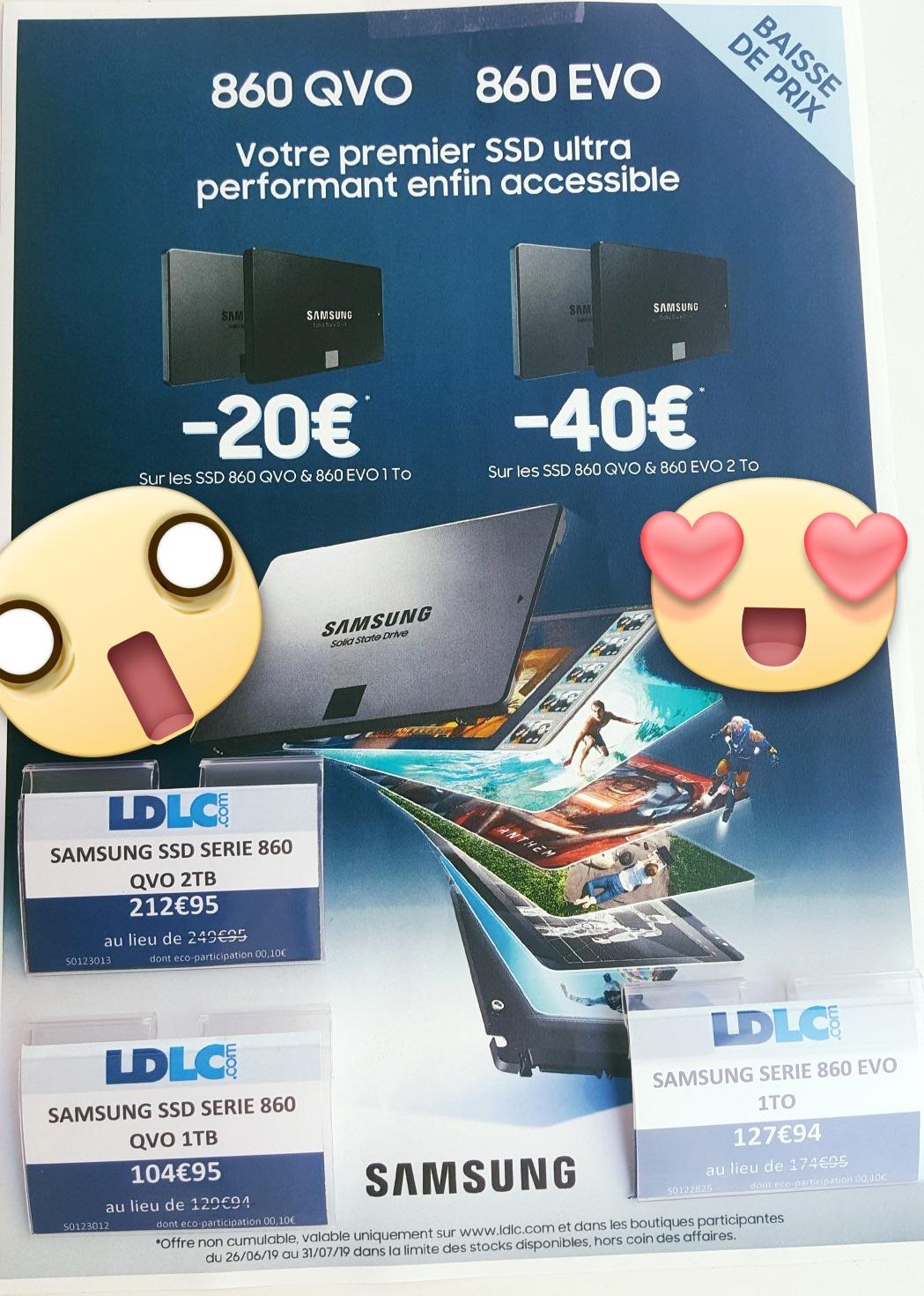 "Sélection de SSD en promotion - Ex : SSD interne 2.5"" Samsung 860 QVO (1 To) - Nice (06)"