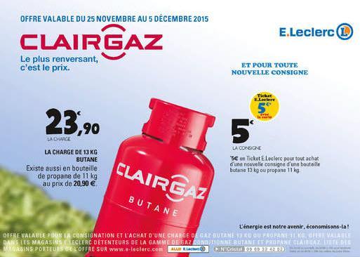 Bouteille de gaz butane Clairgaz 13kg + Consigne (5€ sur la carte)